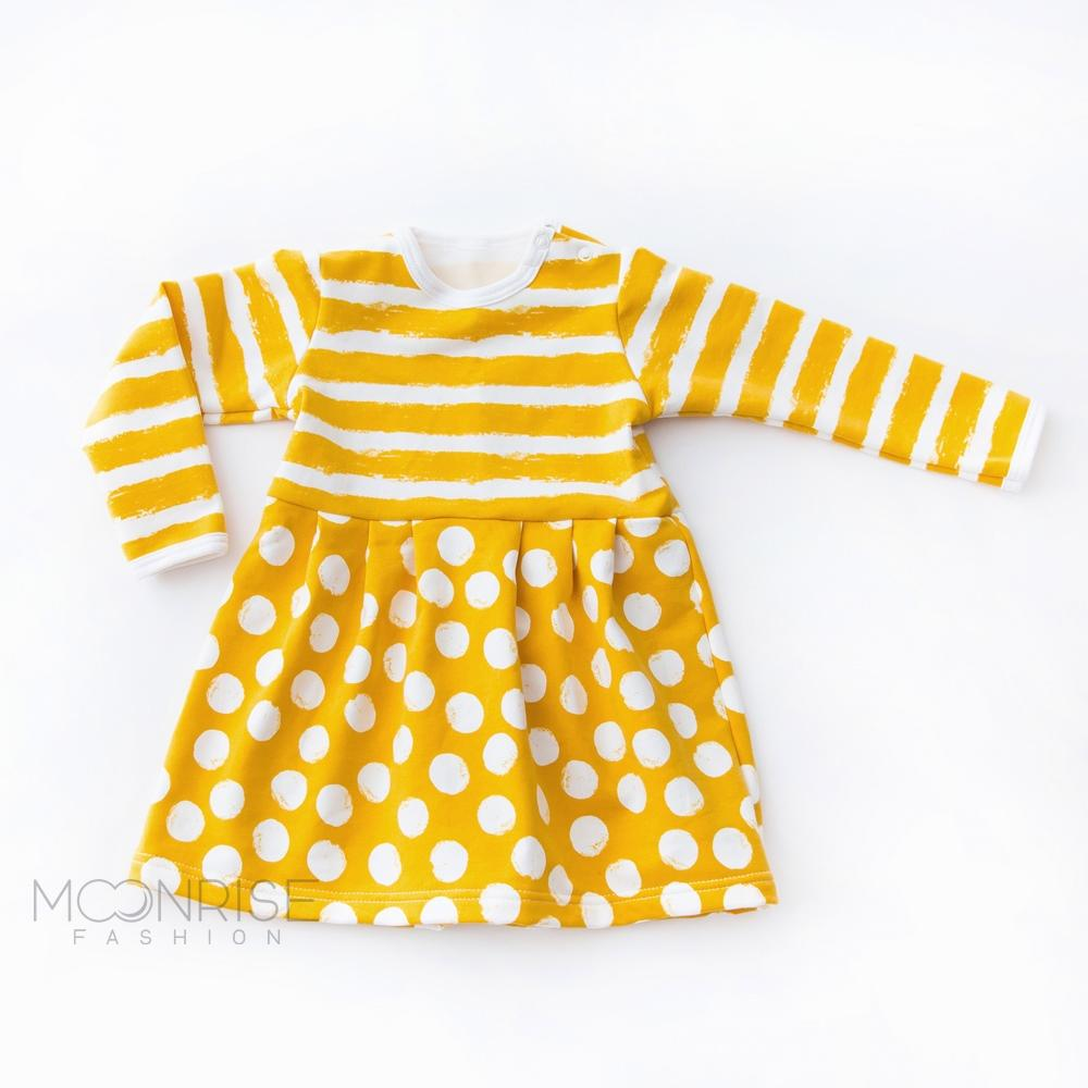 BIO šaty - Dots and Stripes yellow