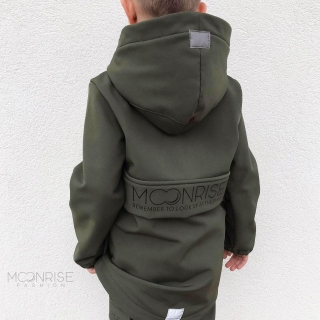 Detská softshell bunda - look up at the stars khaki